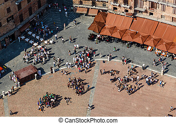 Aerial View on Piazza del Campo, Central Square of Siena,...