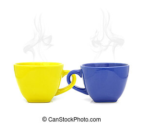 Color cup with hot drink on white background