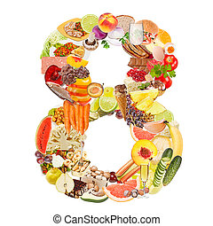 Number 8 made of food isolated on white background
