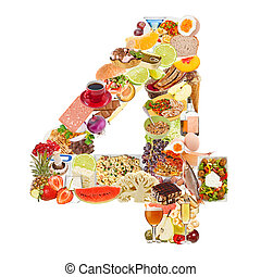 Number 4 made of food isolated on white background