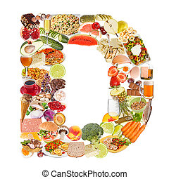 Letter D made of food isolated on white background