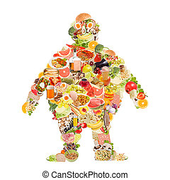Obesity symbol made of food