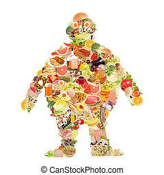 Obesity symbol made of food