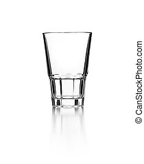 Empty glass on a reflective surface on white background