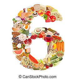 Number 6 made of food isolated on white background