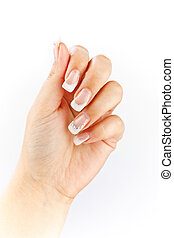 French manicure - Woman hand with french manicure