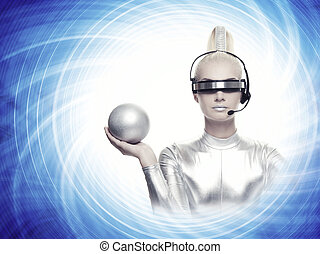 Beautiful cyber woman with a silver ball