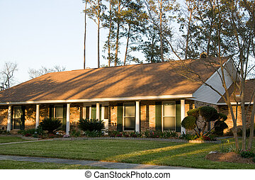 Ranch-Style House - a ranch styled house in late afternoon