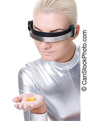 Beautiful cyber woman with a pills