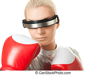 Cyber woman with a red boxing gloves