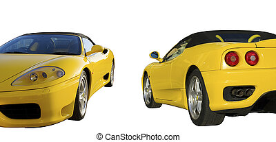Ferrari car - Yellow sport car in two views: front and rear