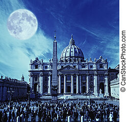 View to the St Peters Basilica at a night time