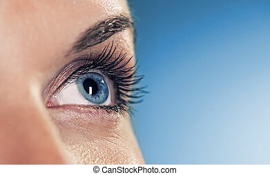 Eye on blue background (shallow DoF)