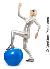 Cyber woman with fitness ball