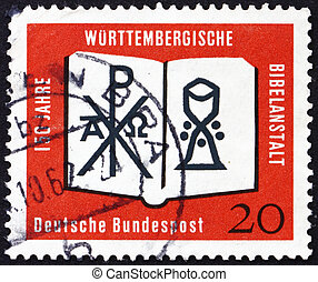 Postage stamp Germany 1962 Open Bible, Chrismon and Chalice...