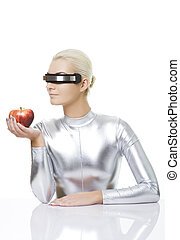 Cyber woman with an apple