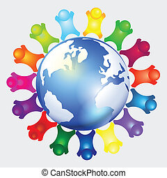 People together around the world Vector art-illustration...