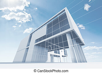 Office architecture. High quality 3d render