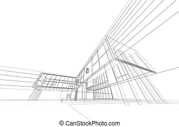 Architecture blueprint on white background