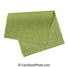 green fabric sample isolated on white background