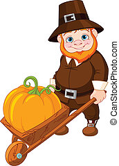 Cute pilgrim with wheelbarrow - Illustration of cute Cute...