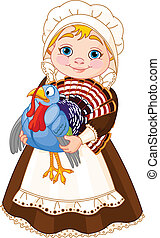 Pilgrim lady with turkey - Illustration of cute Pilgrim lady...