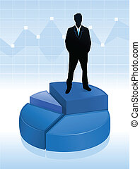 illustration of businessman standing on a pie chart - Vector...