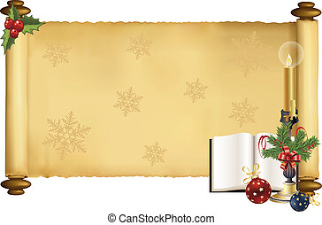 vector scroll with christmas design