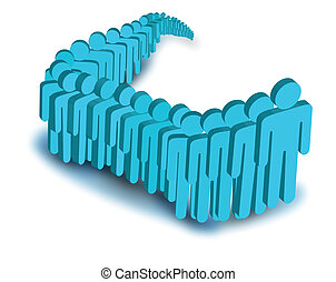 vector image of people in line - Digital illustration of...