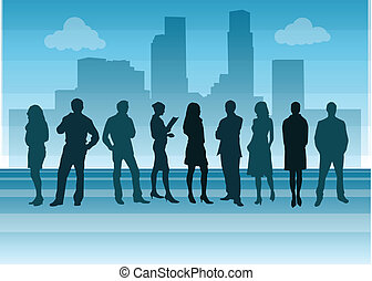 illustration of business people walking with cityscape in...