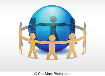 vector image of people holding hands around earth