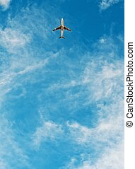 Airplane flying in blue sky