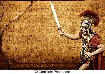 Roman letters texture - Roman legionary soldier in front of...