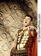 Roman letters texture - Legionary soldier in front of...