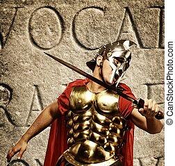 romana, legionary, soldado, frente, abstratos, parede