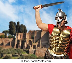 Roman legionary soldier in front old city of Rome