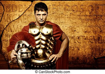 Roman letters texture - Legionary soldier in front of roman...