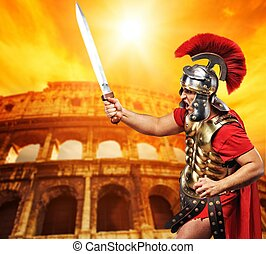 Colosseum (Rome, Italy) - Roman legionary soldier in front...