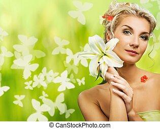 eautiful, jeune, femme, frais, fleurs, elle, cheveux,...