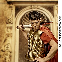 Ancient building - Roman legionary soldier in front of...
