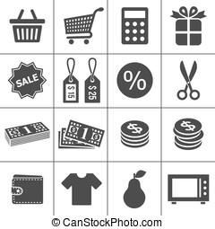 Shopping icons set - Simplus series - Shopping Icons Each...