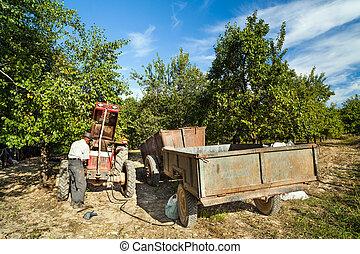 Senior farmer repairing his tractor