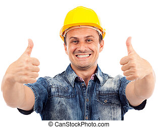 Construction worker with thumbs up - Portrait of a...