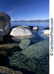 Rocky Shoreline, Lake Tahoe - Crystal clear water and rocky...