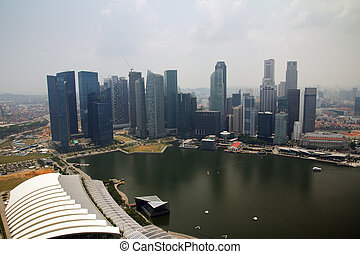Singapore cityline view from Marina bay skypark