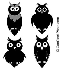 owl set - Set of halloween black owl. Vector illustration.