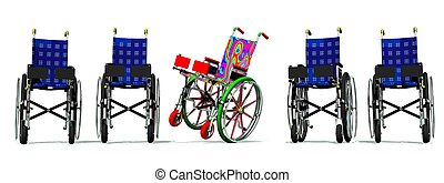 Funny and happy colorful wheelchair among static blue others