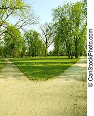 crossroads - a crossroads in a park