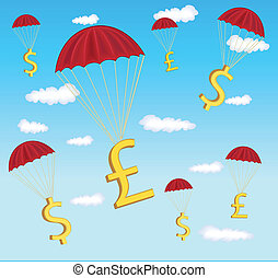 illustration of dollar and pound in parachute