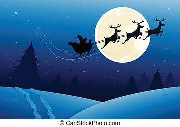 santas sleigh travelling to deliver his presents on...
